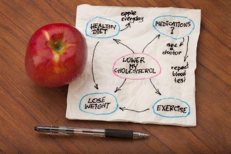 Abaixe o mapa de mente do colesterol imagens de stock