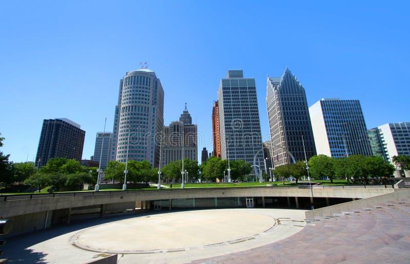 Abajo ciudad Detroit imagen de archivo