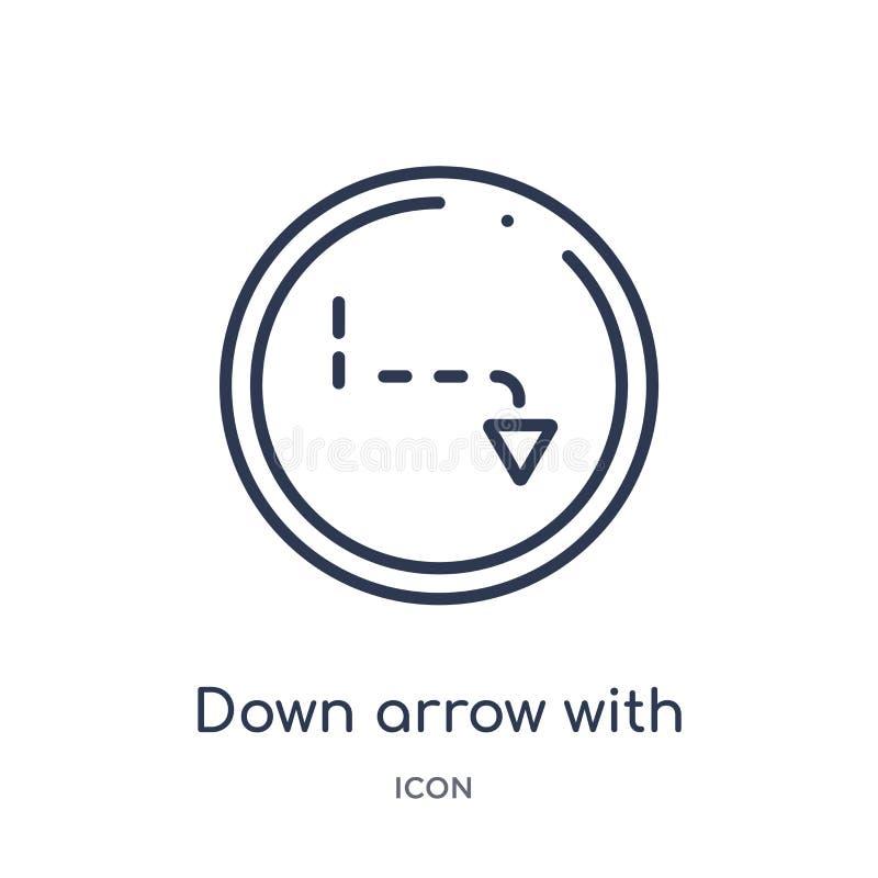 abajo de flecha con las líneas quebradas icono de la colección del esquema de la interfaz de usuario La línea fina abajo de la fl libre illustration