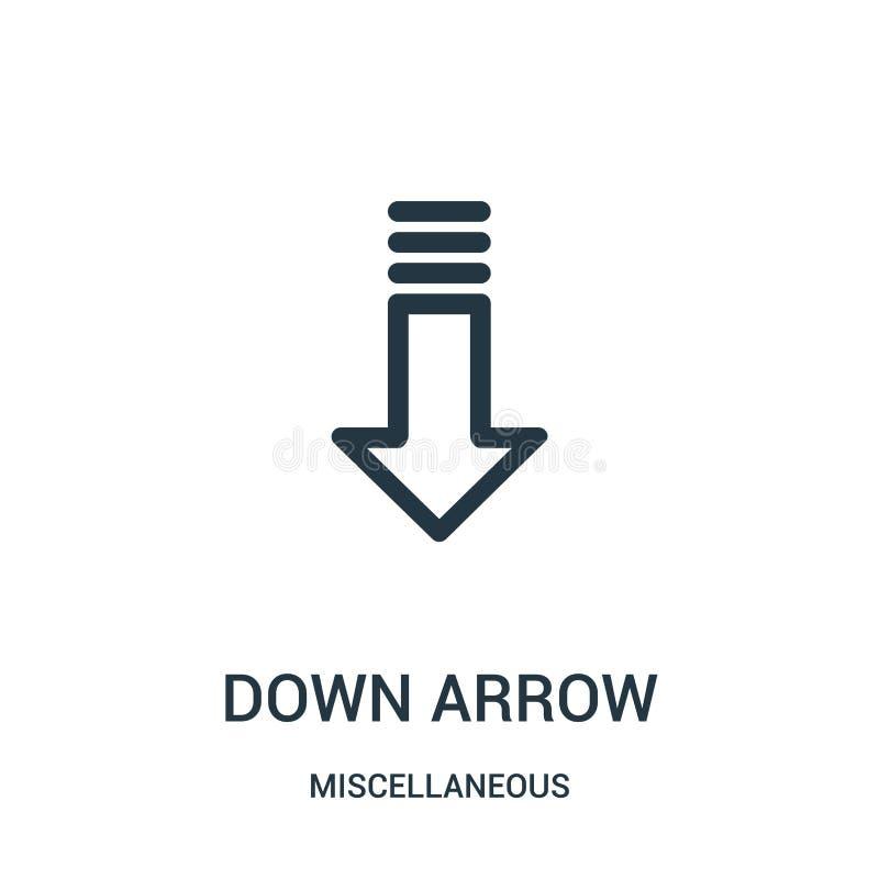 abajo de vector del icono de la flecha de la colección diversa Línea fina abajo del ejemplo del vector del icono del esquema de l stock de ilustración