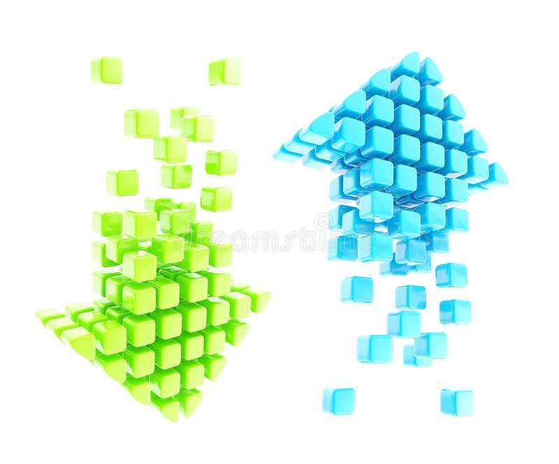 Abajo emblemas brillantes ascendentes verdes y azules del icono libre illustration