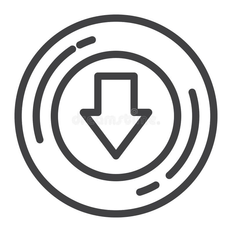 Abajo línea icono de la flecha libre illustration