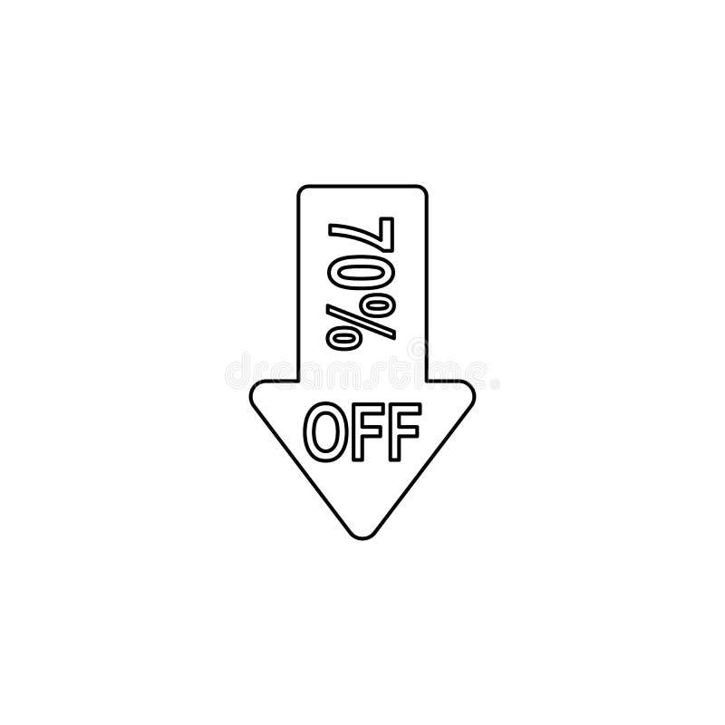 abajo la flecha descuenta el icono 70 El elemento de la venta firma para los apps móviles del concepto y del web La línea fina ic libre illustration