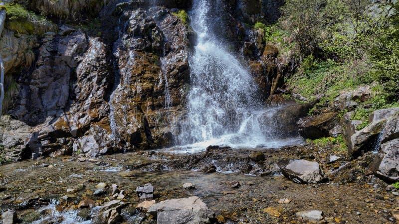 Abajo lado de la cascada hermosa en Arieseni, Rumania imágenes de archivo libres de regalías