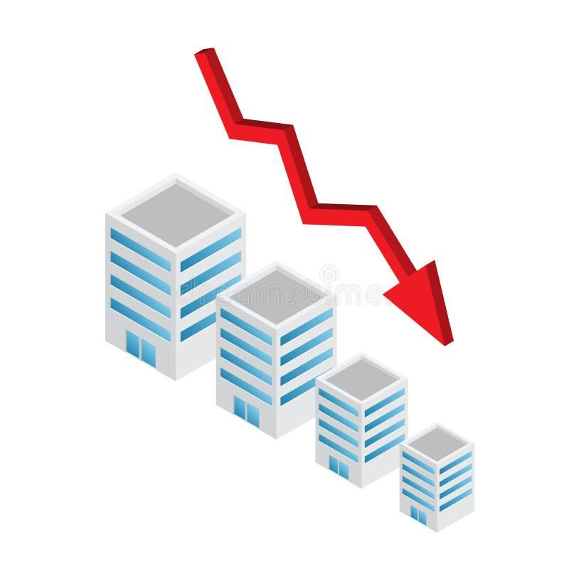 Abajo tendencia del valor de propiedades inmobiliarias con la flecha foto de archivo