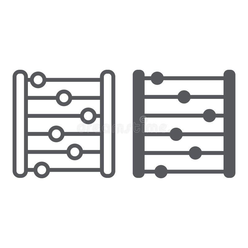 Abakus linia, glif ikona, księgowość i matematyka liczy znaka, wektorowe grafika, liniowy wzór na bielu ilustracji