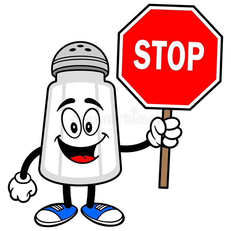 Abanador de sal com um sinal da parada ilustração royalty free