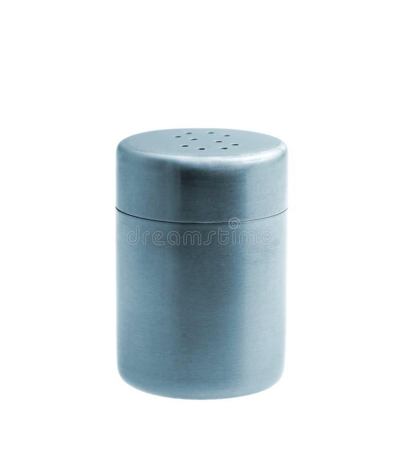 Abanador de sal do metal isolado no fundo branco fotos de stock royalty free