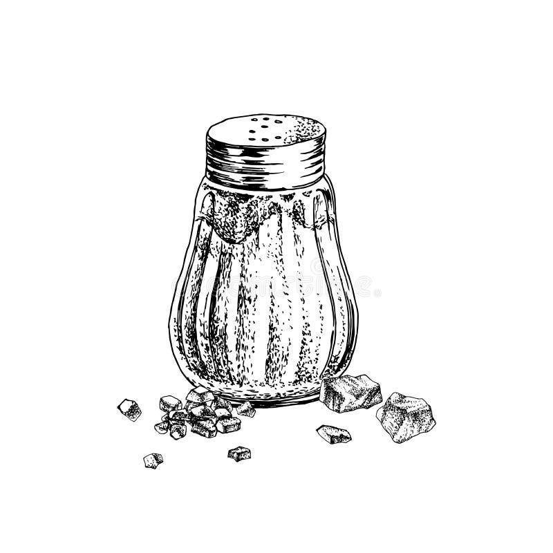 Abanador e cristais tirados mão de sal ilustração do vetor