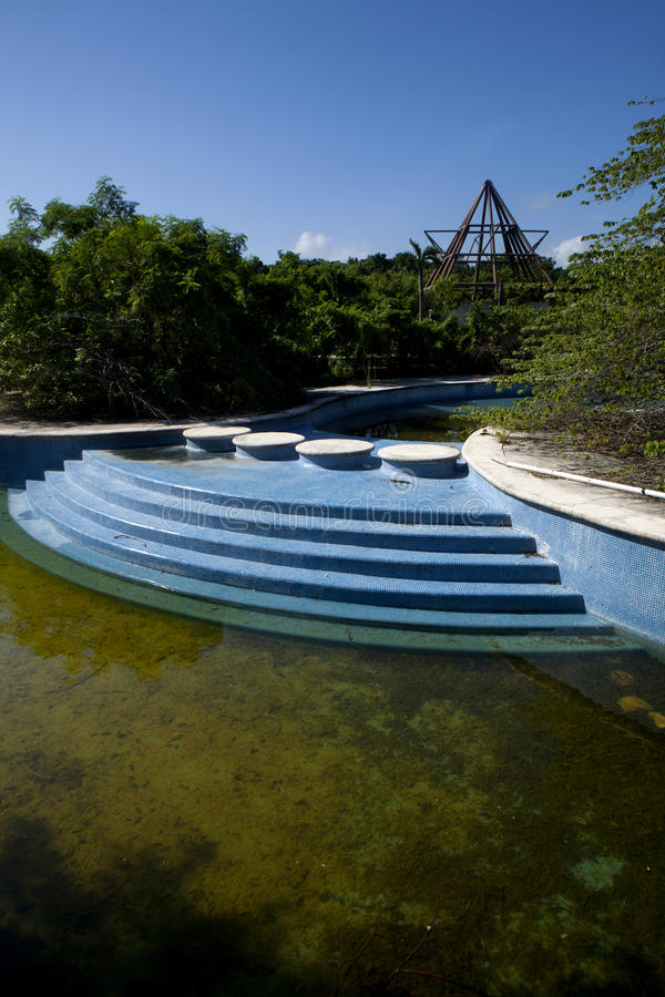Abandon swimming pool and hot tubs. Full of rain water serve as the perfect environment for mosquitoes to breed and the spread of diseases like Zika, Malaria stock photo