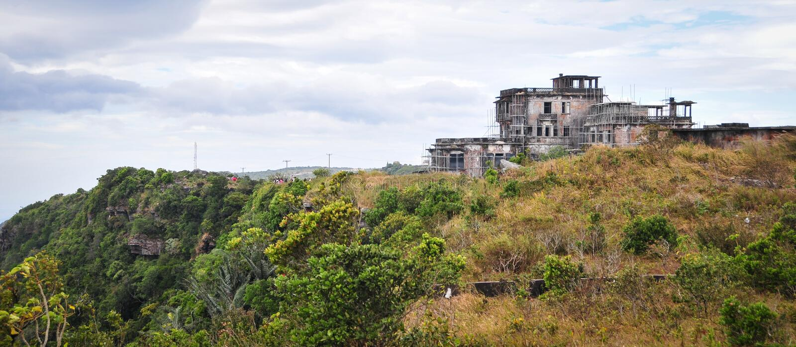 Abandonded hotel on Bokor Hill in Kampot, Cambodia.  stock images