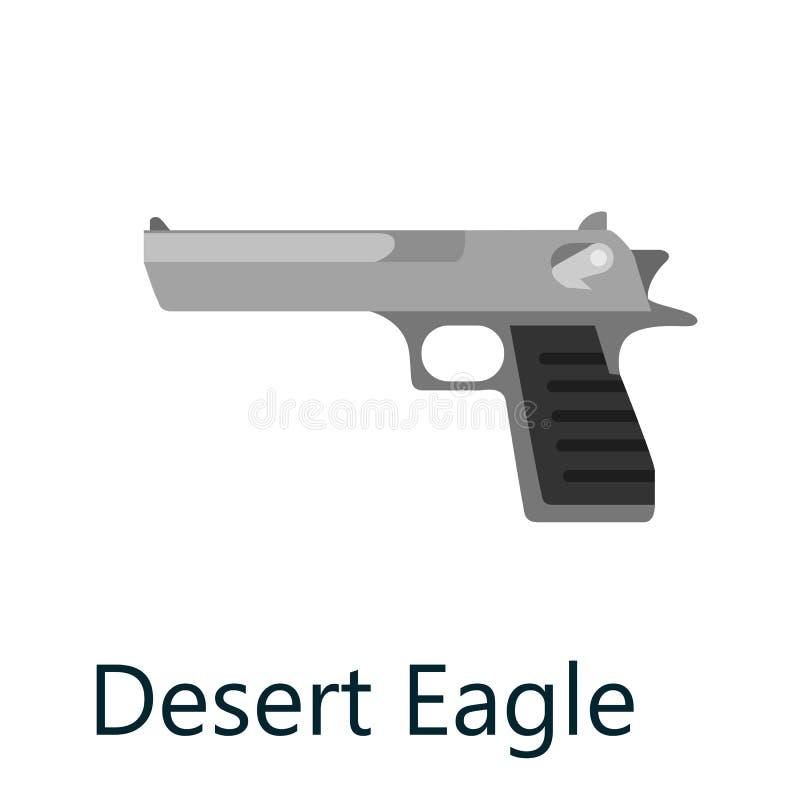 Abandone el arma de la pistola del águila, arma militar de la arma de mano, ejemplo aislado negro automático del vector del icono stock de ilustración