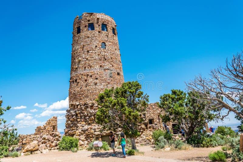 Abandone o ponto de vista da vista e a torre antiga do wath do navajo Marco famoso do parque nacional de Grand Canyon, o Arizona, foto de stock royalty free