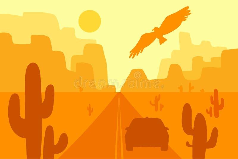 Abandone a paisagem com águia, cacto e sol Vetor ilustração royalty free