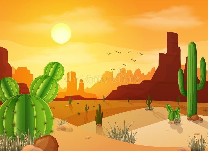 Abandone a paisagem com os cactos no fundo do por do sol ilustração royalty free