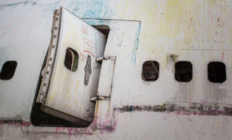 Abandoned airplane window stock photography