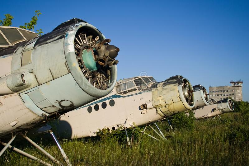 Abandoned airport. Old Soviet aircraft Antonov An-2 stock photo