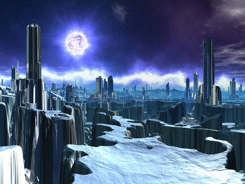 Abandoned Alien City with Dying Sun vector illustration