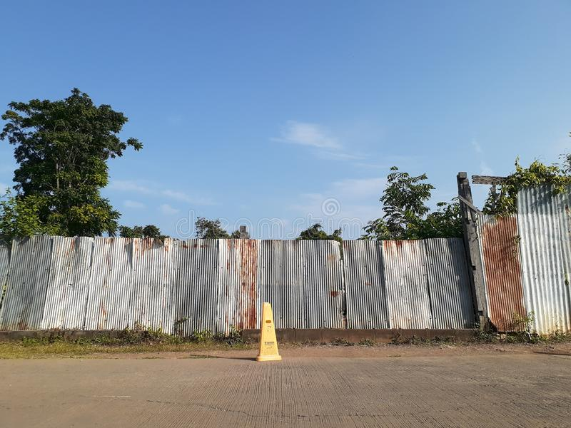 Abandoned Area Near No.1 Road In Thailand With Blue Sky royalty free stock image