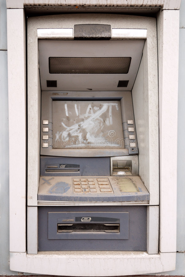 Abandoned ATM machine stock images