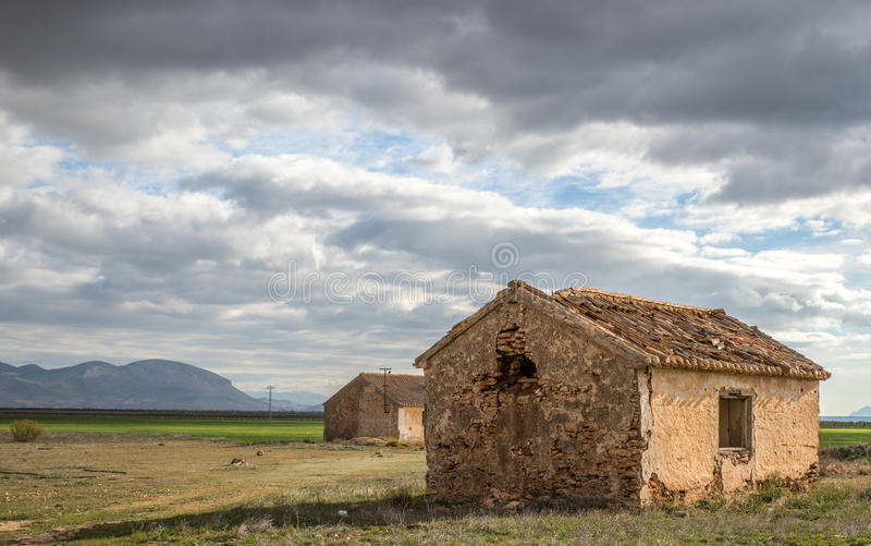 Abandoned barn. Old abandoned barn in the meadow in Andalusie, Spain royalty free stock photography