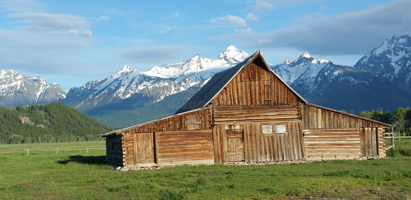 The abandoned barn in the Tetons, USA royalty free stock photography