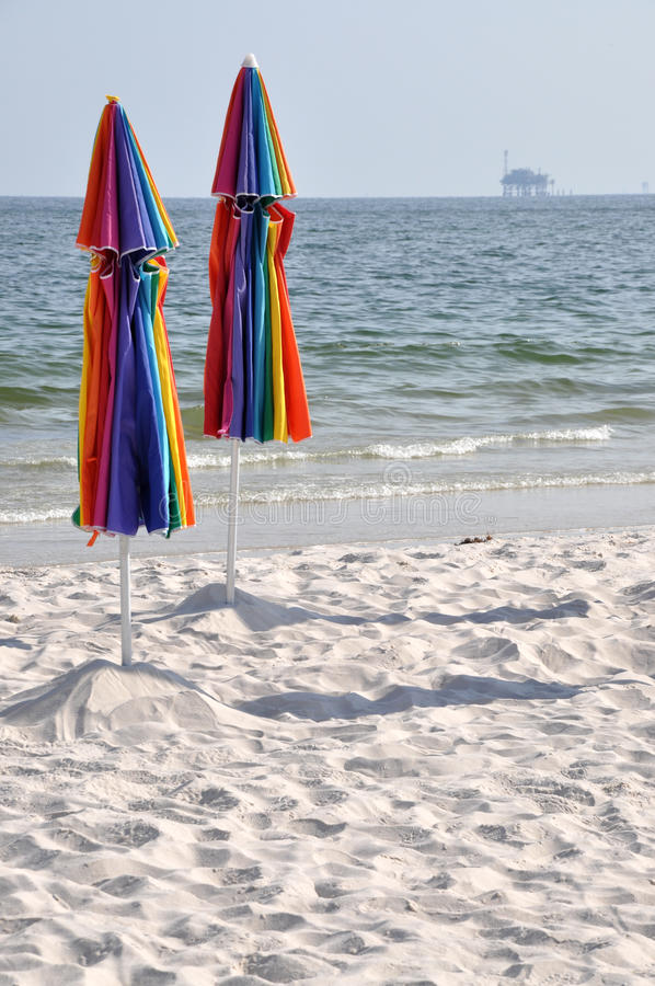 Download Abandoned Beach And Oil Rig Stock Photo - Image: 14855422