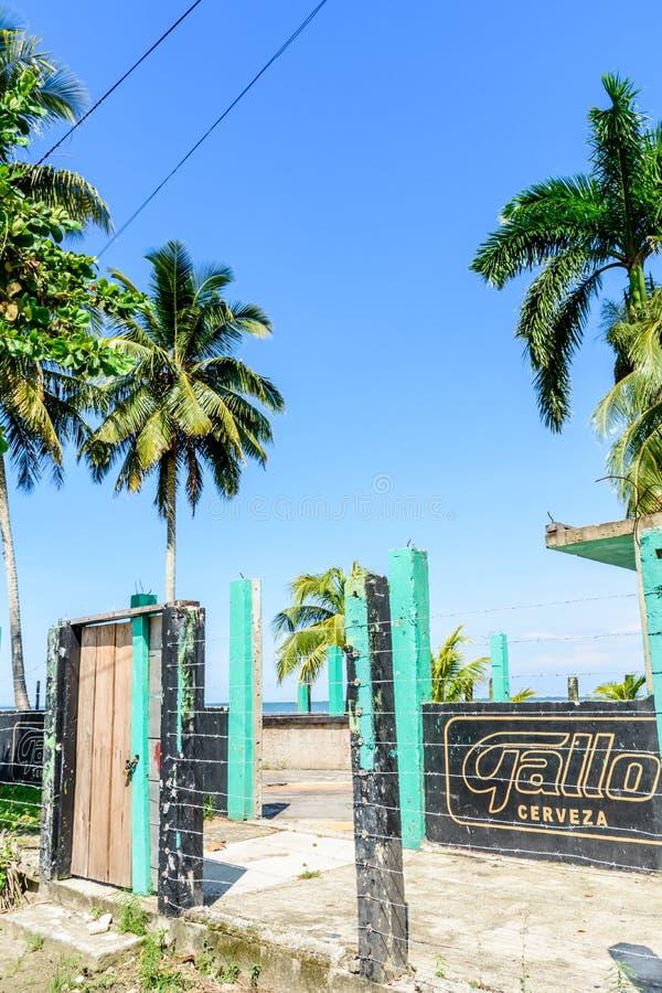 Abandoned beachside building, Livingston, Guatemala royalty free stock image