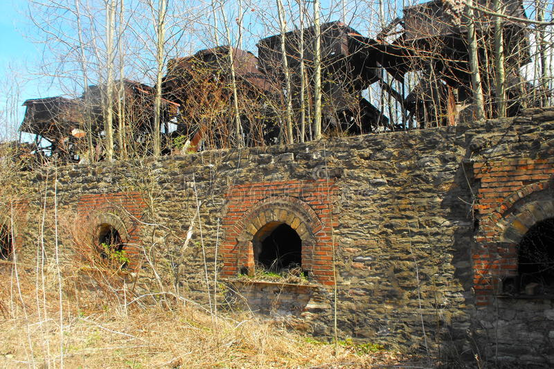 Abandoned beehive coke ovens. In Shoaf, Fayette County, Pennsylvania. This is in the Connellsville Coalfield, south of Uniontown. Coal was baked into coke to be royalty free stock photography