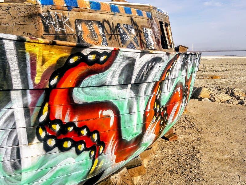 Abandoned Graffiti Boat at the Salton Sea royalty free stock image