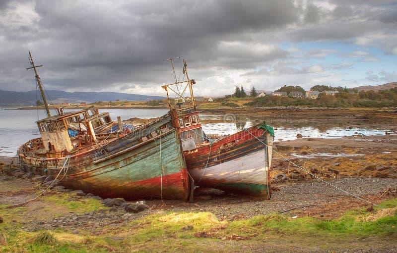 Abandoned Boats Mull. Abandoned fishing boats on Mull, at Aros Mains royalty free stock images