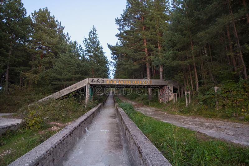 Abandoned bobsleigh track stock image