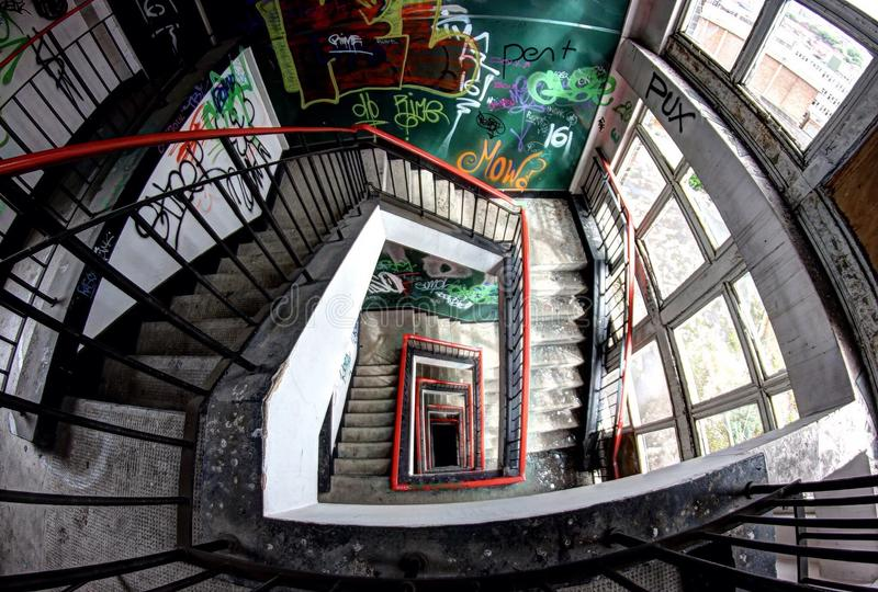 Abandoned brewery stairs stock images