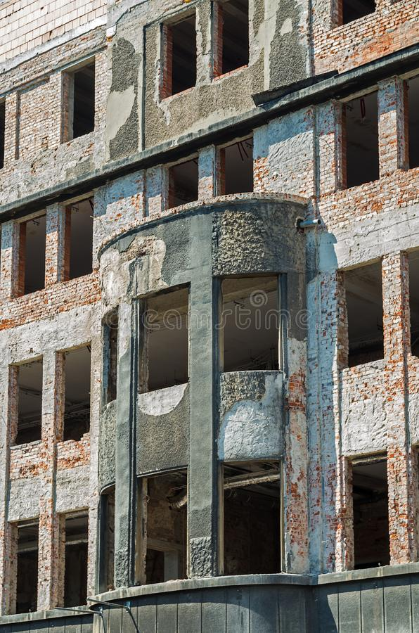 Abandoned brick building without windows. royalty free stock photography