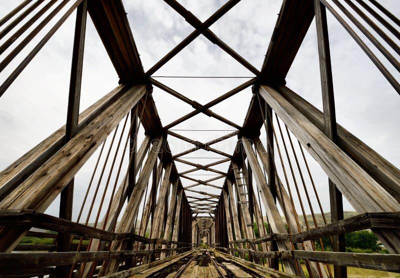 Abandoned Bridge Drumheller. Landscape featuring an abandoned railway bridge from Drumheller, Alberta stock photo
