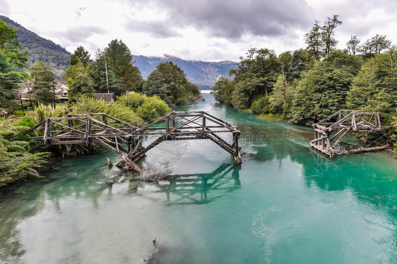 Abandoned bridge, Road of the Seven Lakes, Argentina royalty free stock images