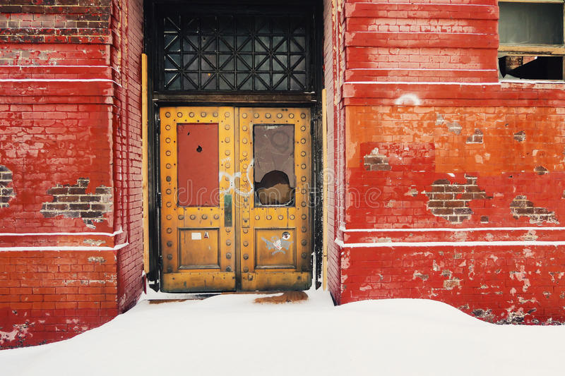 Download Abandoned Building With Decorative Metal Door Stock Image - Image: 83721411