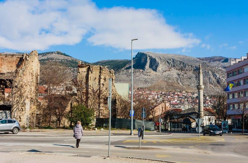 Abandoned building, detroyed during Bosnian War at Bulevar Street in Mostar city, Bosnia and Herzegovina. View of Abandoned building, detroyed during Bosnian War stock image