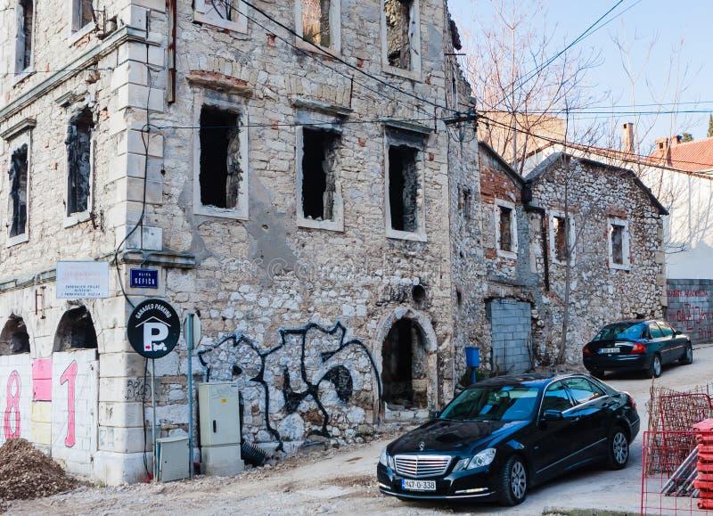 Abandoned building, detroyed during Bosnian War at Bulevar Street in Mostar city, Bosnia and Herzegovina. View of Abandoned building, detroyed during Bosnian War stock photography
