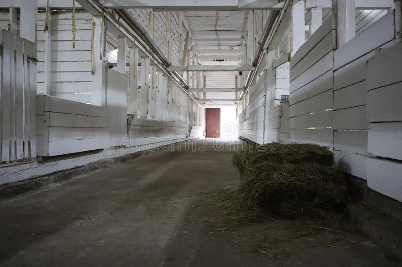 Abandoned building. farm shelter in the barn with haystacks.  Inside a Barn for Farm Animals like Cows or Horses. Interior of Old. Abandoned empty barn royalty free stock photos