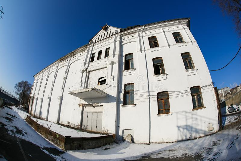 Abandoned building of the former meat cooler of the Russian-American company `Union` in the center of Vladivostok royalty free stock photography