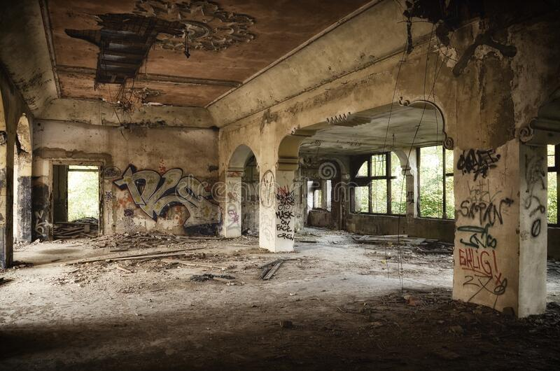 Abandoned Building Full of Graffiti royalty free stock photos