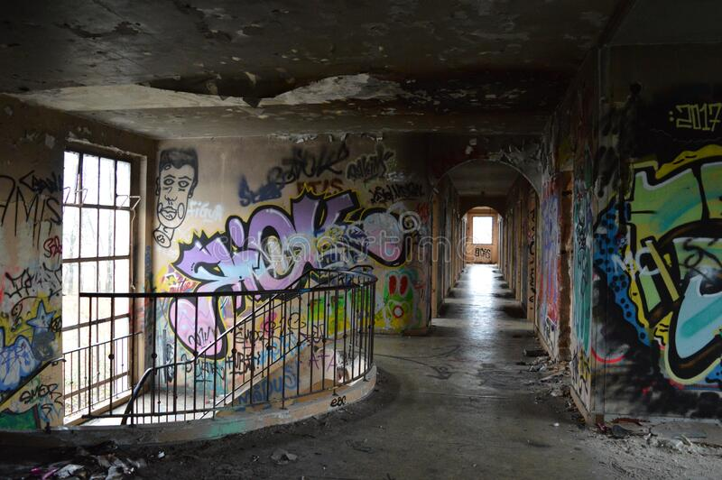 Abandoned building full of graffiti. In military camp: Hitfeld in Germany royalty free stock images