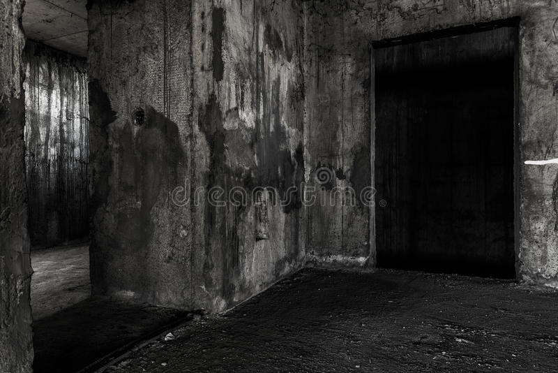 Abandoned building ghost living place with two doors. Darkness horror and halloween background concept stock photo