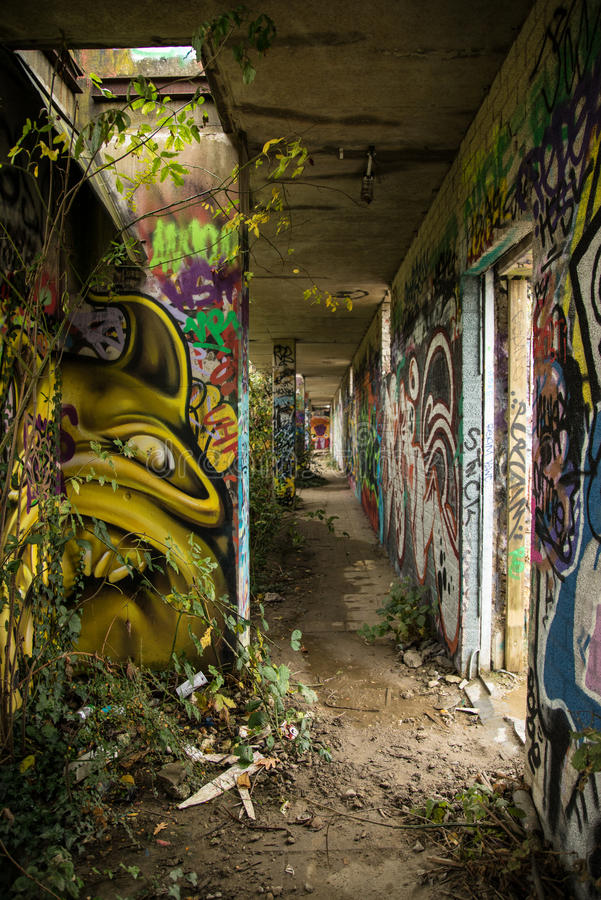 Abandoned Building With Graffiti 1 stock images