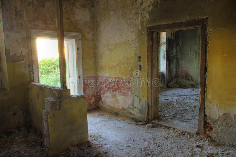 Abandoned building interior stock photography