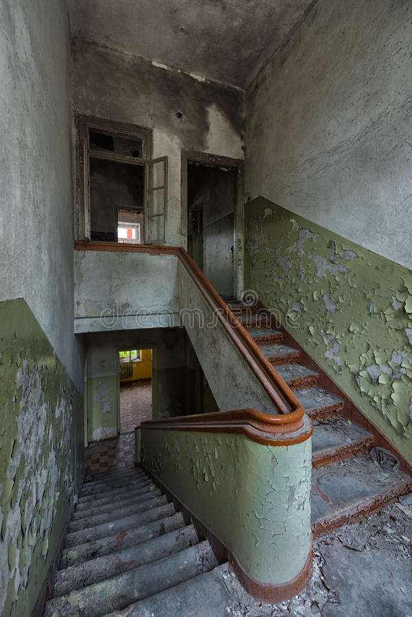 Abandoned building staircase royalty free stock photography