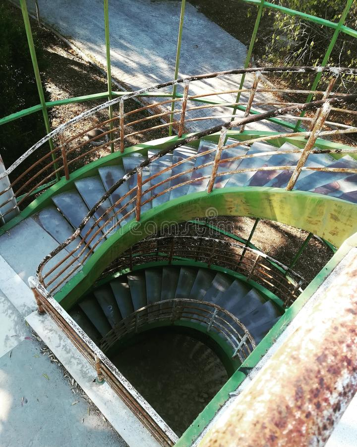 Abandoned building stairs gallery stock image