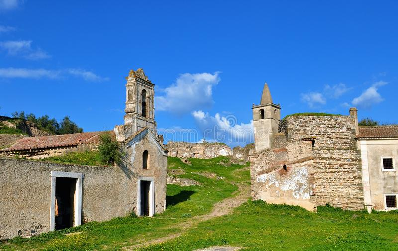 The abandoned buildings in the castle stock images