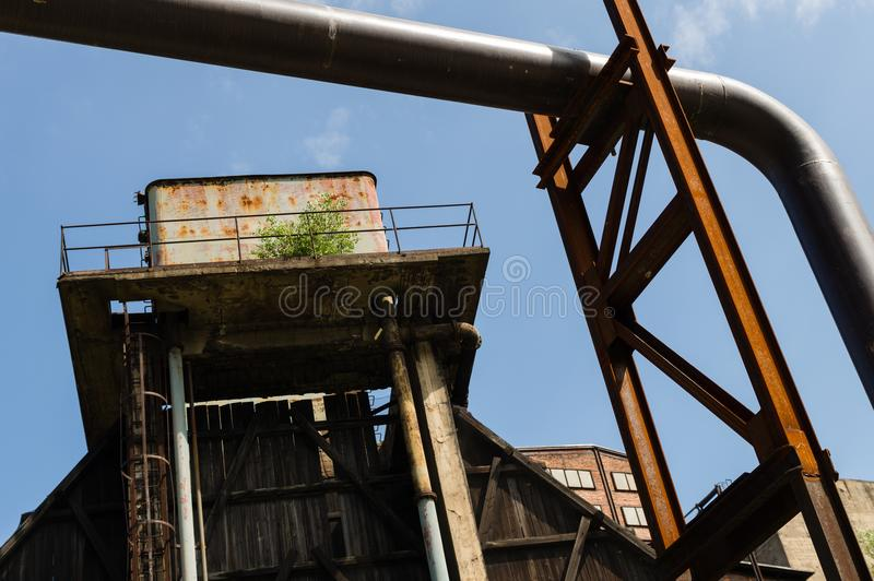 Abandoned buildings in Dolni Vitkovice industrial area, Ostrava, Czech Republic.  royalty free stock photography